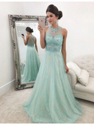 Glamorous A-line Sleeveless Lace Evening Dresses  Floor Length Prom Dresses_3
