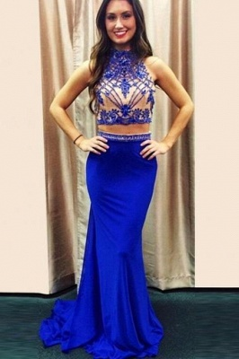High Neck Royal Blue Two Piece Prom Dress  Mermaid Sleeveless Beaded Evening Dresses_1