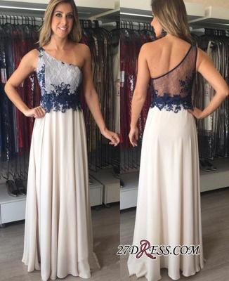Chiffon Applique One-Shoulder Floor-Length Sleeveless Elegant Prom Dresses_1