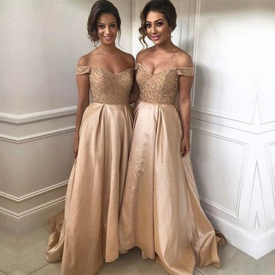 Off The Shoulder Bridesmaid Dresses  Champagne Gold Sequins Dress for Maid of Honor BA8374_4