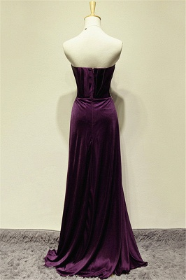 A-line Elegant Purple Sweetheart Crystal Prom Dress Sweep Train Zipper Long Evening Gown With Beadings_2