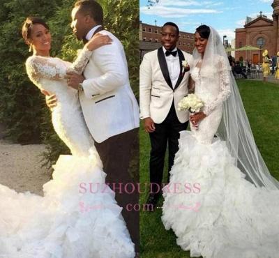 Lace-Appliques Long-Train Delicate Mermaid Ruffles Wedding Dress_4