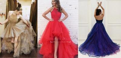Brilliant Hi-Lo Tulle Halter Low Beading A-Line Evening Dresses_3