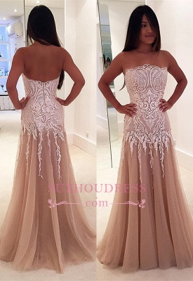 Strapless A-line Prom Dress | Sleeveless Lace Evening Gowns_3