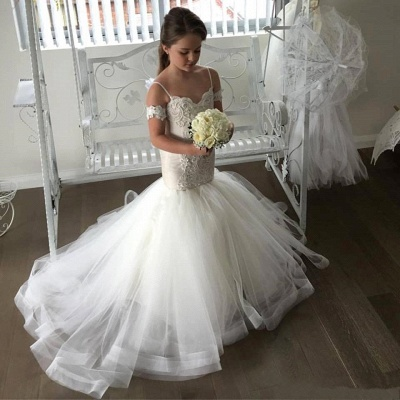 Lovely Mermaid Tulle Flower Girl Dresses |  Spaghetti Straps Appliques Girl Dresses_3