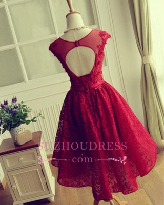 Cap Sleeves Lace Appliques A-Line  Short Homecoming Dresses_6