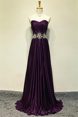 A-line Elegant Purple Sweetheart Crystal Prom Dress Sweep Train Zipper Long Evening Gown With Beadings_1