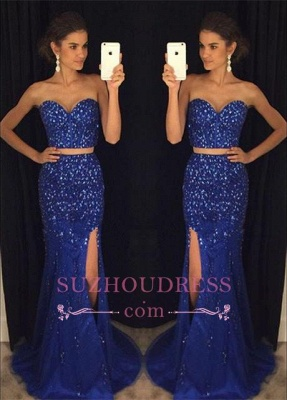 Two-Pieces Split Sweetheart Mermaid Gorgeous Beadings Prom Dress_2