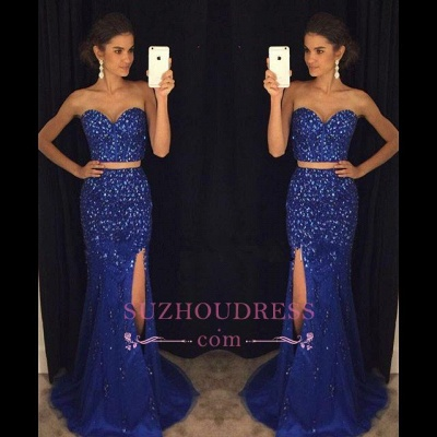 Two-Pieces Split Sweetheart Mermaid Gorgeous Beadings Prom Dress_1