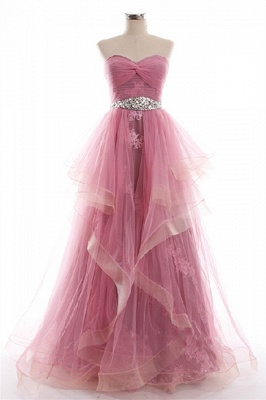 Sweetheart Unique Design Pink Prom Dress with Appliques Tulle Organza  Evening Dress_1