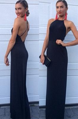 Black Prom Dresses High Neck A Line Floor Length Backless Satin Elegant Evening Gowns_1