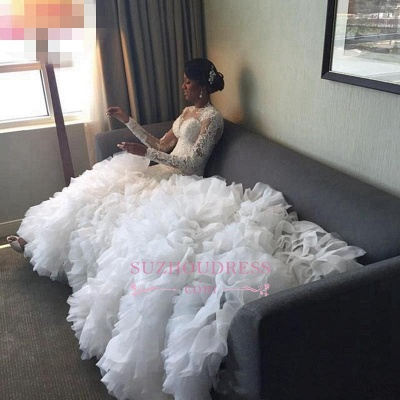 Lace-Appliques Long-Train Delicate Mermaid Ruffles Wedding Dress_5