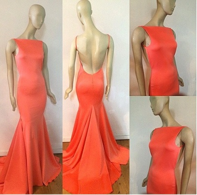 Fishtail Open Back Orange  Evening Dresses with Long Train  Sexy Custom Made Prom Dresses_2