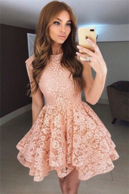 Coral Lace Tiered Short Homecoming Dresses Online  Sleeveless  Hoco Dresses_1