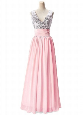 Sexy V-Neck  Prom Dresses Sequined Choffpn Long  Evening Gowns_2