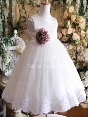 Cute Flower Girl Dresses Jewel Sequined Appliques Brown Flower Ruffle Lovely White  Tulle Pageant Dress_2