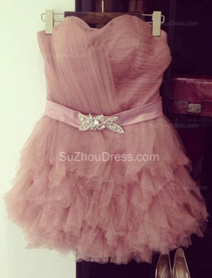 Cute Mini Sweetheart Organza Homecoming Dresses  Ruffle Tiered Designer Custom Made Cocktail Dresses with Belt_2