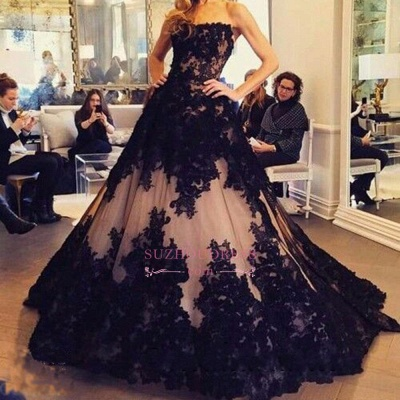 Lace Tulle Black New  Prom Dress Strapless Sleeveless Ball-Gown Evening Dresses BA2372_1