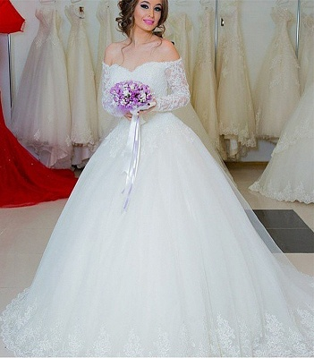 Sexy White Lace Long Sleeve Wedding Dress  Ball Gown Bridal Dress_2