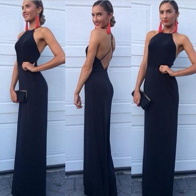 Black Prom Dresses High Neck A Line Floor Length Backless Satin Elegant Evening Gowns_2