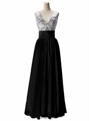 Sexy V-Neck  Prom Dresses Sequined Choffpn Long  Evening Gowns_5