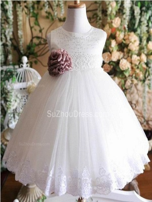 Cute Flower Girl Dresses Jewel Sequined Appliques Brown Flower Ruffle Lovely White  Tulle Pageant Dress_1