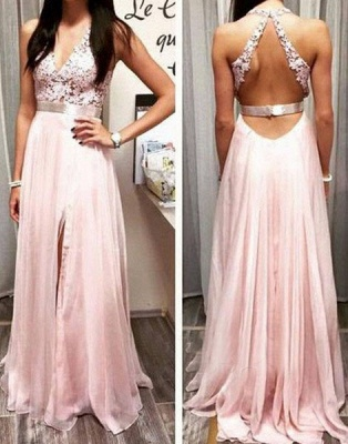 Elegant Sexy  Prom Dress Online V-neck Long Chiffon Popular Evening Gowns Party Dresses_1