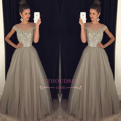 Beadings Crystal  Evening Gowns A-Line Glamorous Tulle Long Prom Dress BA7619_1
