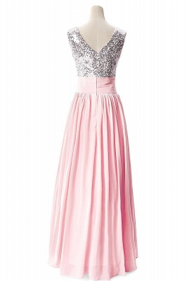 Sexy V-Neck  Prom Dresses Sequined Choffpn Long  Evening Gowns_3