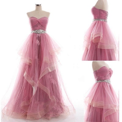 Sweetheart Unique Design Pink Prom Dress with Appliques Tulle Organza  Evening Dress_2