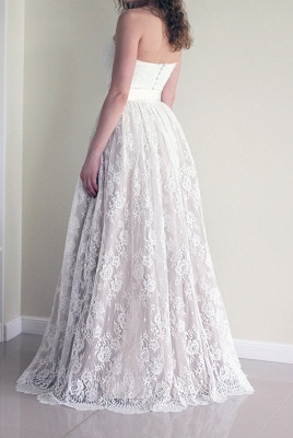 Long A-line Simple Sweetheart Lace Sash  Sleeveless Wedding Dress_3