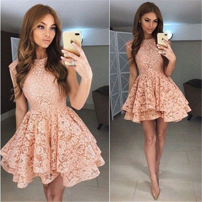 Coral Lace Tiered Short Homecoming Dresses Online  Sleeveless  Hoco Dresses_3
