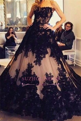 Lace Tulle Black New  Prom Dress Strapless Sleeveless Ball-Gown Evening Dresses BA2372_3