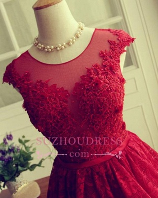 Cap Sleeves Lace Appliques A-Line  Short Homecoming Dresses_5