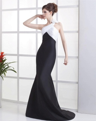White And Black Prom Dresses  One Shoulder Sleeveless Mermaid Sweep Train Satin Flower  Evening Gowns_3