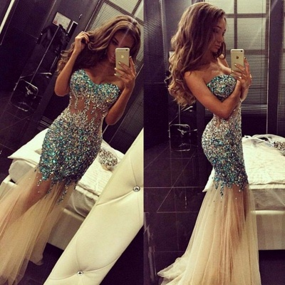 Crystal Sweetheart Mermaid Tulle Eveining Dress New Arrival Long Formal Occasion Dresses_3