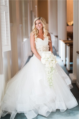 Ruffled Organza Wedding Dresses  Sweetheart Bridal Gowns with Beads Flowers_1