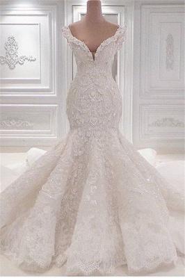 Glamorous V-Neck Lace Wedding Dresses Mermaid Vintage Bridal Gowns Online_1