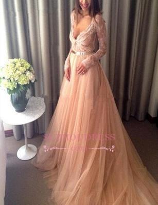 Long-Sleeve Lace Tulle Beautiful Long V-Neck Evening Dress_4