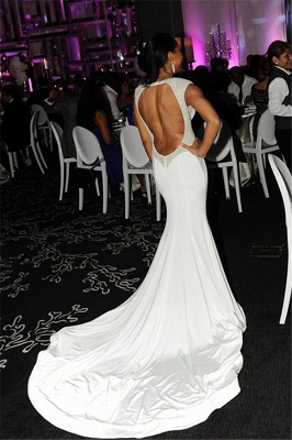 Sexy White Open Back Long Evening Dress  with Full Beads Mermaid Wedding Reception Dress_2