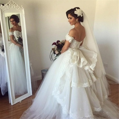 Off-the-shoulder Wedding Dress Puffy Tulle Ball Gown Bridal Dress with Lace_5