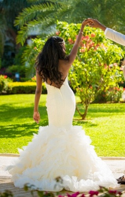 Pretty Sweetheart Ruffles Outdoor Wedding Dresses Open Back  Summer Wedding Gown WE0076_3