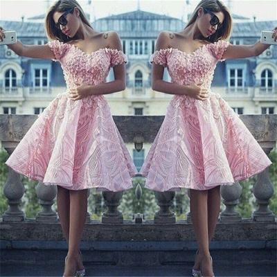 Off The Shoulder 3D Appliques  Homecoming Dress Pink Unique Luxurious Hoco Dress BA7122_3