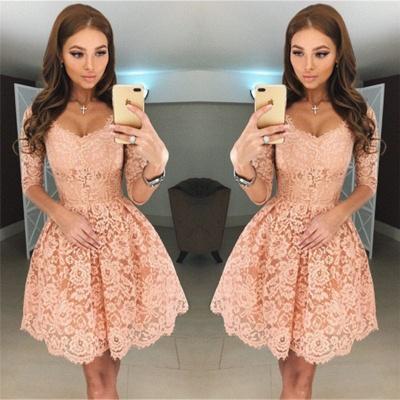 V-neck Half Sleeves Homecoming Dresses   Short Lace Hoco Dress Online BA6953_3
