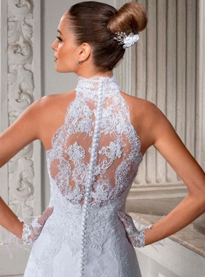Gorgeous A Line High Neck Wedding Dress  Lace Sheer Sleeveless Sheath Bridal Gowns_2