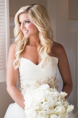 Ruffled Organza Wedding Dresses  Sweetheart Bridal Gowns with Beads Flowers_3