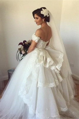 Off-the-shoulder Wedding Dress Puffy Tulle Ball Gown Bridal Dress with Lace_1