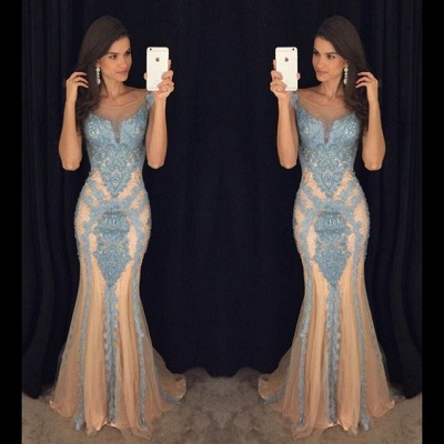 Tulle Mermaid Sequins Lace Applique Evening Dress Crystal Sexy Open Back  Prom Dress_3