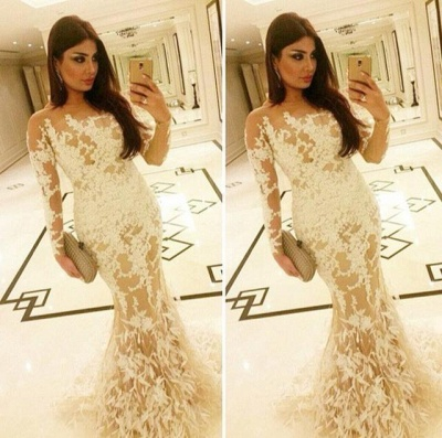 Long Sleeve Sexy Mermaid Party Dresses White Lace Applique  Evening Gowns AE0129_3