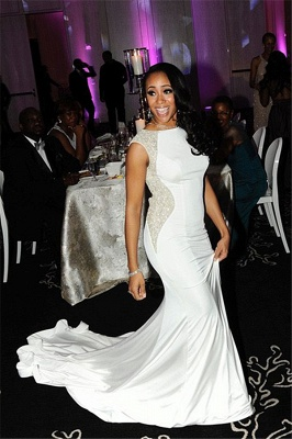 Sexy White Open Back Long Evening Dress  with Full Beads Mermaid Wedding Reception Dress_1